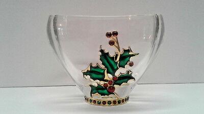 Teleflora Bohemian 24  Lead Crystal Oval Jeweled Vase Bowl