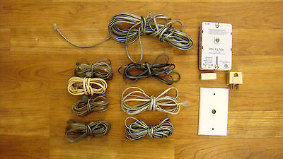 Lot Of (8) Misc Phone Line Telephone Internet Cords Cables Jacks & DSL Filter -