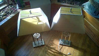 2 Table Lamps Stainless Steel contemporary pebble lights pair