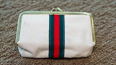 Gucci Vintage Sew Clutch Stripe Sewing Kit Travel Coin Purse Compact Manicure