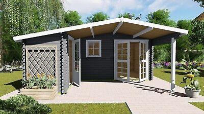 Gartenhaus Aus Holz Mit Vordach Blockhaus 51x48M298M 28mm Birminghem