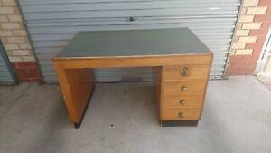 Brown Timber Desk Hampstead Gardens Port Adelaide Area Preview