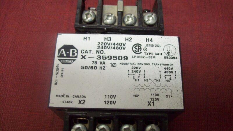 Allen Bradley X-359509 75VA 1PH 440/480V-AC 120V-AC Transformer New