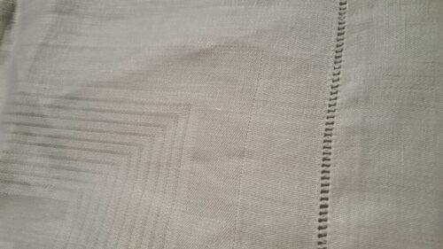 "White Irish linen 1 3/4"" hemstitched tablecloth folded hem edge 35"" square vtg"