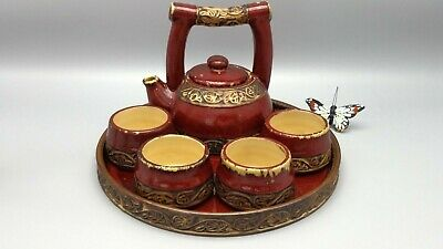 Pier 1 Tea Set 6 piece service Asian Earthen Ceramics personal collection - Personalized Tea Set