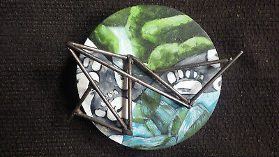 Miniature Painted Wall Assemblage On Circular Wood Board w Steel Construction 5