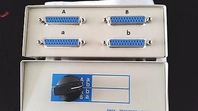 DB25X 2 WAY MANUAL ROTARY DATA SWITCH BOX FEMALE CROSS TYPE METAL CASE  -