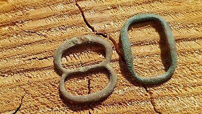 Post Medieval/Tudor copper alloy buckles x2. Please read description. L6v