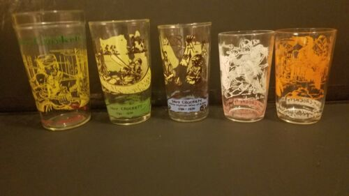 5 DAVY CROCKETT JELLY/JUICE GLASSES from the 1950