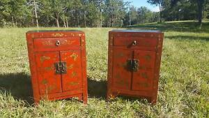 Pair of Asian red decorative bedside table cupboards Port Macquarie Port Macquarie City Preview