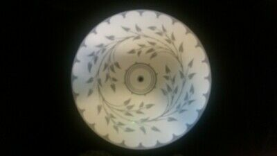 - Vtg Round White Frosted Vine Pattern Glass Ceiling Light Shade 15