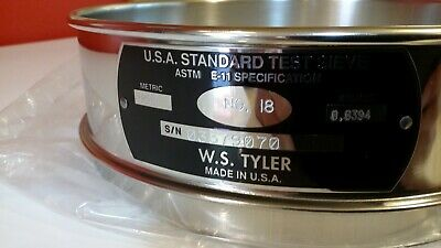 Tyler Usa Standard Test Sieve Item 5198 8 Fh-ss-ss-us-18 1mm. .0394 Inch