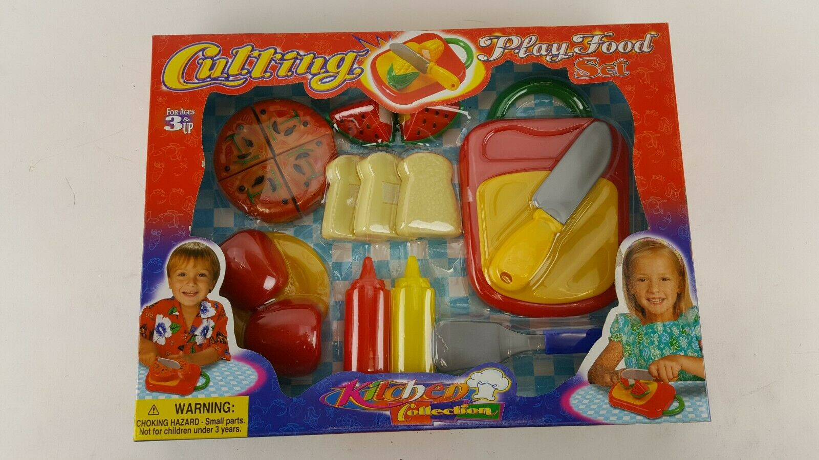 kitchen play set cutting play food pizza