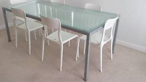 Expensive, Glass Top, Metal Frames Dining Table & 6 White Chairs. Little Bay Eastern Suburbs Preview