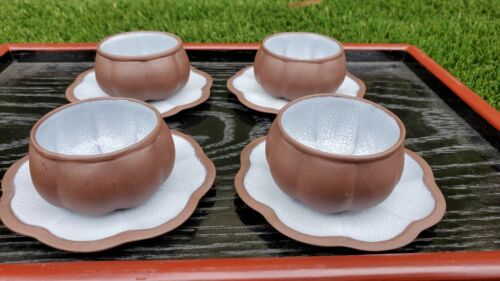 Chinese Yixing Zisha Purple Clay Melon Crackle Glaze Teacup Set