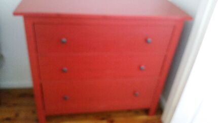 Ikea, Red Hemnes bedside tables and chest of 3 drawers  Unanderra Wollongong Area Preview