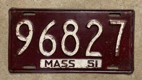 Massachusetts 1951 license plate 96827 1952