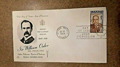 Canada 1969 #495 6c Rosecraft Sir William Osler FDC Mint Unaddressed single