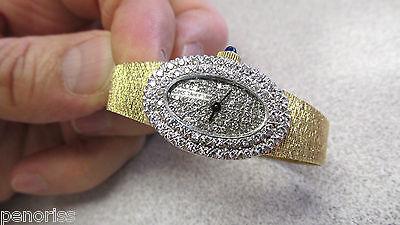 14k Monnet Bijoux Ladies Diamond Dial & Diamond Bezel Mechanical Watch 6.25 inch