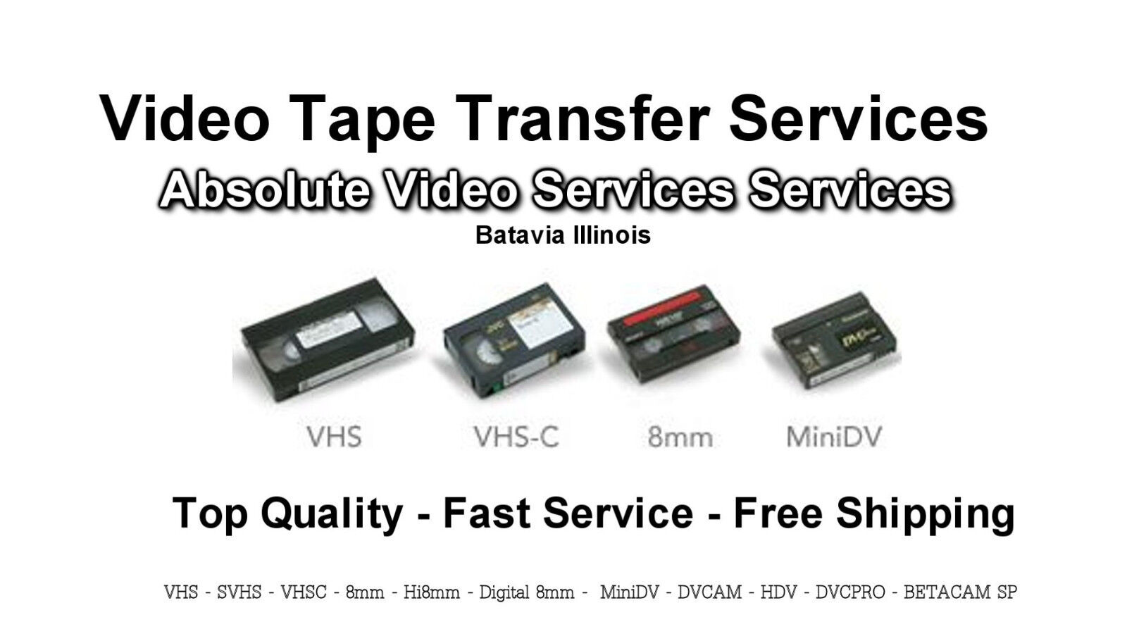 Video Tape Transfer Service to DVD VHS 8MM MiniDV 25 Tape Package Special