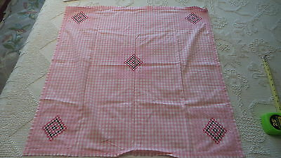 Vintage PINK Gingham Check EMBROIDERED TABLECLOTH,Black & Shades of Pink