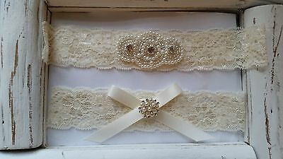 Toss Wedding Garter Set - Wedding Garter, Rhinestone Garter Set, Ivory Lace, Keepsake & Toss Garter