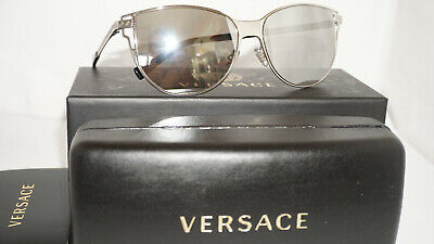 Versace New Sunglasses Silver Light Grey Mirror Silver VE2211 10006G 56 140