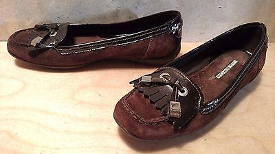 Via Spiga Avena Brown Patent Leather   Suede Loafer Moccasin Slip On Size 7 5 M