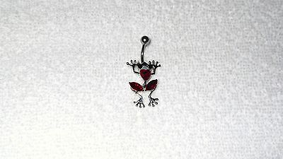 Red Stone Frog Swivel Body Belly Button Navel Ring Body Jewelry Piercing 14g