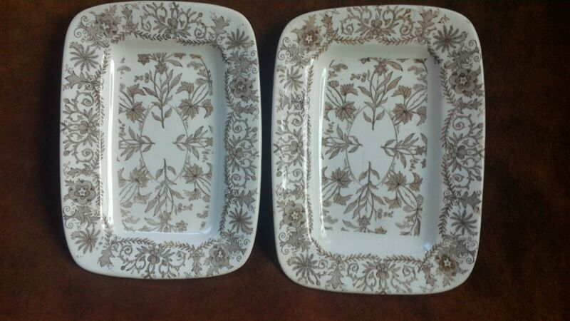 Antique ironstone transferware aesthetic T & R Boote serving trays LAHORE 1880