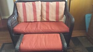 2 seater wicker chair and foot stool
