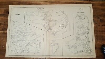 Antique MAP - DERRY, SEABROOK, RYE - ROCKINGHAM CO - N.HAMPSHIRE - 1892 - Seabrook Antique