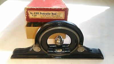 Vintage L.s. Starrett No. 490 Bevel Protractor Head With Level And Original Box