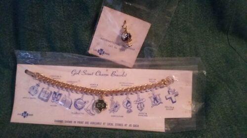 Vintage 1960s Girl Scout Charm Bracelet(NIP) & Rare Charm-New on Card