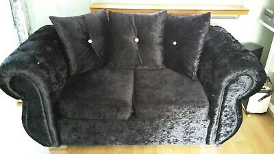 Black crushed velvet 2 seater sofa