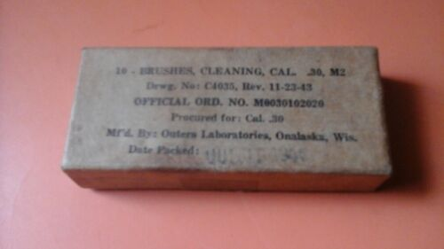 W.W. II - U.S. Box of Brushes & Cleaning .30 Cal. M2 1943 Boxed & Wrapped