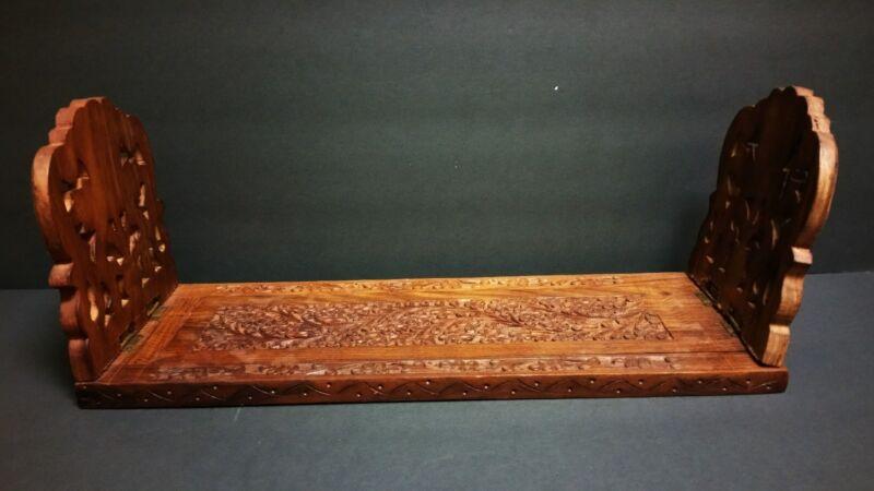 Vintage Sliding Book Rack BOOKEND carved wood folding quality