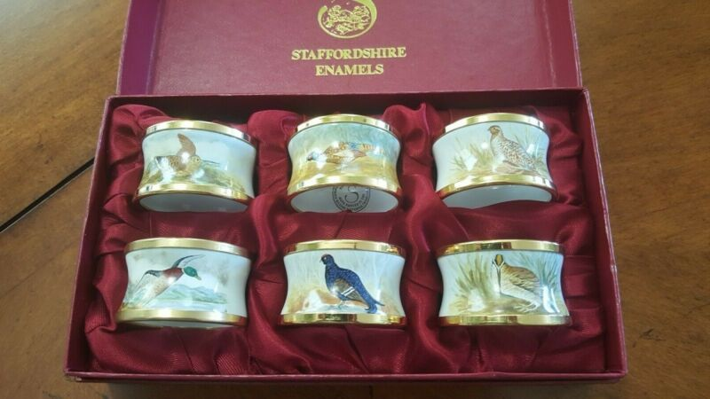 Staffordshire Enamels - Classic Game Bird Napkin Rings - Thanksgiving - MINT