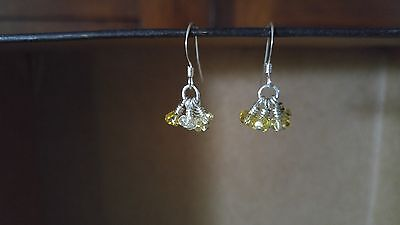 Vintage earrings dangle drop silver tone metal yellow crystal cluster wire wrap