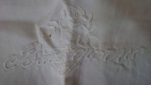 Antique Victorian Linen Padded Embroidery Show Towel Hand Loomed  Edged Guest