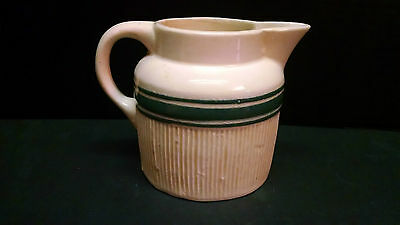 ANTIQUE HULL YELLOW WARE Pitcher Green Band Stripes Vintage  #2