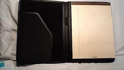 Debon 8593 Black Leather Nylon Letter Sized Writing Pad