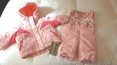 NWT Girl's Columbia 2 Piece Jacket & Snowbibs  PINK  Size 6 Months  NEW