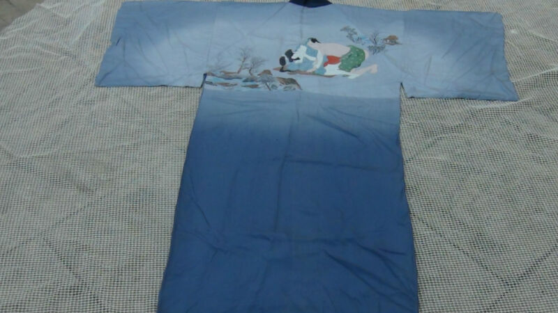VINTAGE JAPANESE BLUE SILK KIMONO WITH PAINTING MAN AND WOMAN ON LANDSCAPE