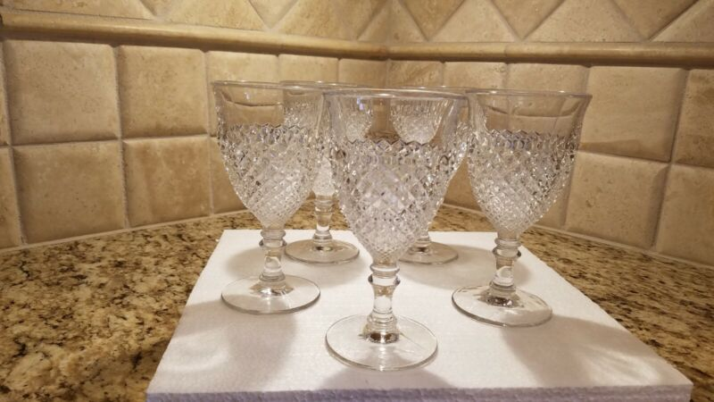 """WESTMORELAND CLEAR ENGLISH HOBNAIL 6 1/8"""" ROUND-FOOTED WATER GOBLETS-Set of 5"""