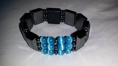 Handcrafted Hematite Magnetic Super Bracelet with Blue Cat Eye Cat Eye Hematite Bracelet