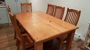 Solid pine dining table and 6 chairs North Willoughby Willoughby Area Preview