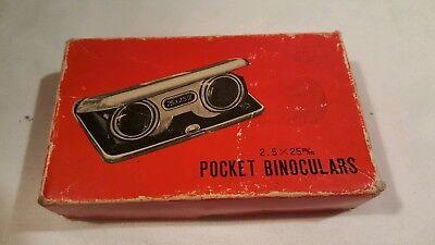 Vintage Folding Sport Glasses Pocket Fixed Focus 2.5x25m/m Fold up Binoculars