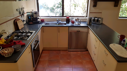 Kitchen with appliances for removal