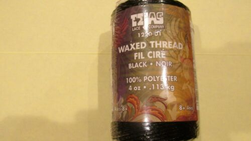 4oz. BLACK WAXED POLY THREAD SPOOL 1220-01 for LEATHER OR CANVAS 1st QUALITY